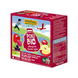 Poki de manzana con frutos rojos 4x90g ECO