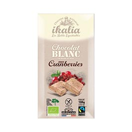 Chocolate blanco arándanos rojos 100g