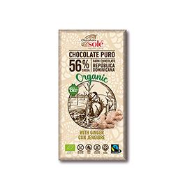 Choco negro c/jengibre 100g Sole ECO