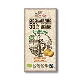 Chocolate negro 56% naranja 100g ECO